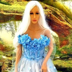 TARA  Blue Bloom Corset Tulle Wedding Ballgown Set